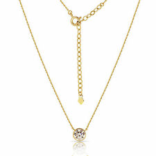 1 CT Round Brilliant Solitaire Pendant Cable Link Chain Necklace 14k Yellow Gold