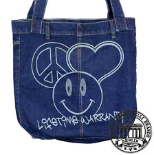 S13. PEACE LOVE HAPPY Jeans Denim Shopping Bag Marionelli Tasche  Stofftasche
