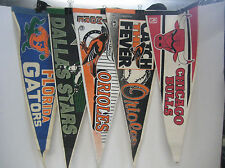 Lot of 5 Vintage Souvenir Sports Felt Pennants Mancave Orioles Bulls Gators
