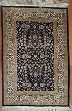 Signed Turkish Hereke Silk on Silk Carpet,New Handknotted Small Blue 2'4''x3'7''