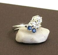 RING  JEWELLERY JEWELRY 925 STERLING SILVER BLUE CZ DRESS  RING  SIZE 7 OR N