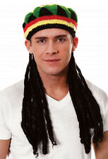 FANCY DRESS RASTAFARIAN RASTA KNITTED HAT WITH HAIR ADULT SIZE (H36 300)