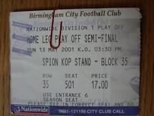 13/05/2001 BIGLIETTO: play-off semi-finale Divisione 1, Birmingham City V Preston né