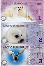 LOT SET SERIE 3 BILLETS Arctic TERRITOIRES POLAR  POLYMER  UNC NEUF