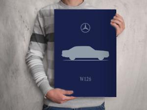 POSTER - MERCEDES BENZ W126 S CLASS - A4 A3 A2 Size Car Silhouette