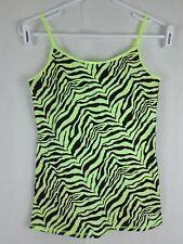 Justice New Girl 16 Green Black Animal Print Cotton Blend Sleeveless Tank Top