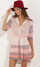 Polyester Floral Short Sleeve Shirt Dresses for Women