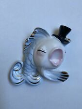 Vintage Norcrest Wall Plaque Pink & Blue Dancing Fish With Hat