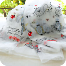 0.5yd Organza Lace Fabric Cartoon Embroidery Curtain Garment Shirt 54.33'' Width