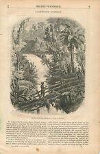 Cascade de Itamarati Amazonas Serra dos Orgaos Brésil GRAVURE ANTIQUE PRINT 1854