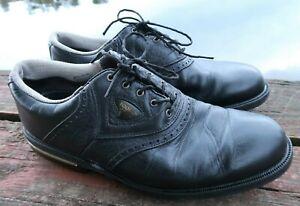 FootJoy Gel-Fusion 59953 Black Saddle Leather Soft Spike Golf Shoes 10M