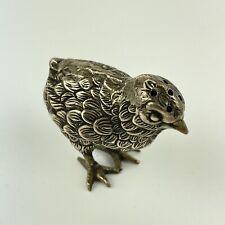 More details for antique silver plated novelty chick form pepper shaker pepperette length 5cm