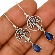 Tree Of Life - Sapphire - India 925 Silver Earrings Jewelry AE130577 105X