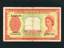 Malaya and British Borneo:P-3,10 Dollars, 1953 * Queen Elizabeth II *