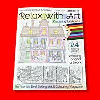 ADULT COLOURING BOOK RELAX WITH ART FOR ADULTS ISSUE 9 - ART THERAPY  NEW