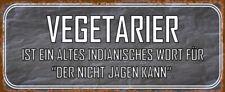 Vegetarier Blechschild Schild gewölbt Metal Tin Sign 10 x 27 cm K0053