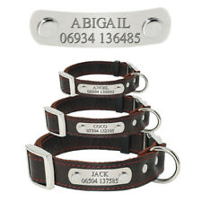 Dog Collar Personalized Leather Pet Dog Tag Collar Custom Puppy Nameplate ID