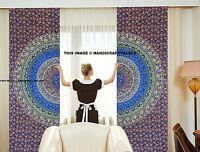 Mandala Indien Chambre Fenêtre Rideaux Rideau Balcon Pièce Décor Bleu Rideau Set