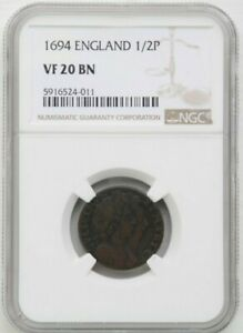 1694 Great Britain 1/2 Penny, William & Mary, NGC VF 20 BN Graded