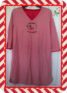 S M Secret Treasures Red Candy Cane 3/4 Sleeve Pullover Nightgown Sleep Shirt