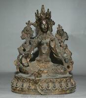 "7.6 ""Vieux Tibet Bouddhisme Tibétain Bronze Vert Tara Buddha Statue"