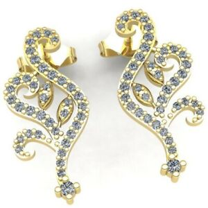Genuine 0.5ct Round Cut Diamond Ladies Unique Floral Fashion Earrings 14K Gold