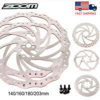 ZOOM 140/160/180/203mm MTB Bicycle Disc Brake Rotors 6 Bolts Stainless Steel US