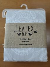 NEW Levtex Baby Crib Fitted Sheet - Gray Willow Medallion-  100% Cotton-  NWT