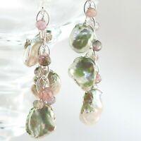Keshi Pearl & Watermelon Tourmaline Silver Chain Cluster Cascade Dangle Earrings
