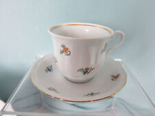 Wakbzych Polish Tea Cups and Saucers C&S 4 Sets Dainty Flowers Gold Trim EPOC
