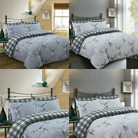 LUXURY PRINTED SILVER GREY DUVET COVER BEDDING SET 100% COTTON 200TC ALL SIZES