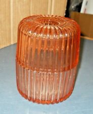 VINTAGE PINK DEPRESSION GLASS RIBBED CANDLE FAIRY LAMP HOLDER