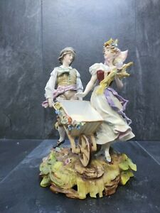 """🌟Beautiful German """"Signed"""" Porcelain Figurine Couple - repaired 9.5""""🌟"""