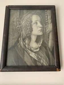 Antique Art . Beautiful botticelli  St. Catherine Old Wooden Frame Estate Find