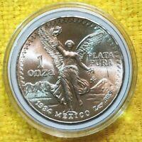 1984 1 oz Silver Libertad 1 Onza Plata Pura BU Coin! From New Roll ! Mexico Mint