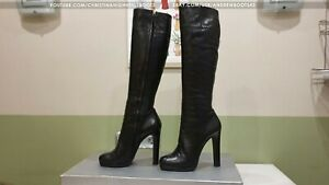 GIANMARCO LORENZI EU40 US9,5 round toe platform high heels leather knee boots