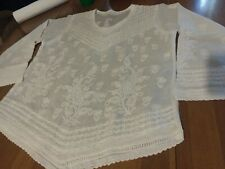 IRISH LINEN Vtg Lace Paisley Embroidered Boho Top Blouse Shirt Sm. Sheer Lovely