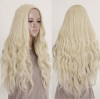 New Womens Sexy Blonde Long Hair Wavy Curly Full Wigs Lolita Cosplay Party Wig
