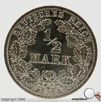Münze Silber Halb Mark 1915 A Reichsadler  Jäger Nummer 16