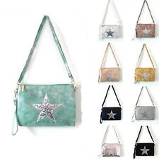 Woman synthetic leather simple Small Messenger Cross Body Shoulder Star Bag UK
