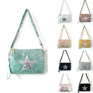 Star Thin Small Messenger Cross Body Make-Up Essential Bag Woman Faux Leather UK