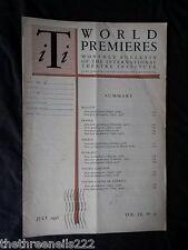 INTERNATIONAL THEATRE INSTITUTE WORLD PREMIER - JULY 1958 VOL 9 #10