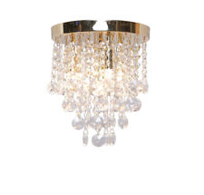 Droplet Chandelier Style 4 Light Ceiling Fitting Polished Gold Brass Glass