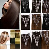 100% Real Human Full Head Clip in Remy Hair Extensions 15''18''20''22'' 24'' lot