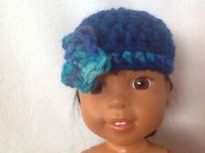 "Wellie Wishers flower teal crocheted hat beanie American Girl 14"" doll fit"