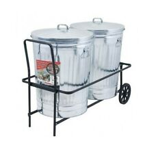 Garbage Can Cart Rolling Trash Caddy 250 lb Capacity Rubber Wheels 2 Can Holder