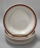 Set of 8 Corelle Corning CINNAMON Rust Orange Stripes Shallow Pasta Bowls #2 AA