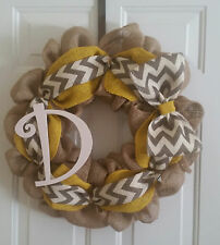 Natural Burlap Wreath/ Golden and Chevron -Personalized