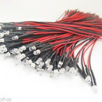 1pc Transparent 3mm LED in Red/Yellow/Blue/Green Light w/10cm Wire w/Resistor
