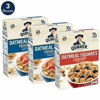 Quaker Oatmeal Squares Breakfast Cereal Variety Pack, 3 Boxes